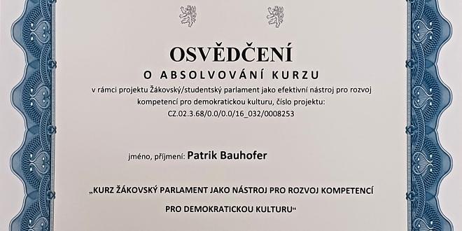 Osvědčení o kurzu ZŠ Jarošova